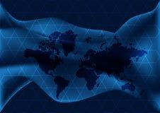 与几何线和波浪的蓝色地图 网际空间地球 免版税图库摄影
