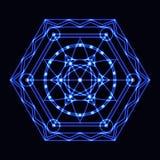 与几何装饰品的传染媒介蓝色霓虹六角形 免版税库存照片