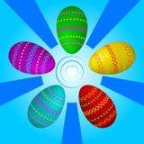与几何装饰品的复活节彩蛋在蓝色背景 向量例证