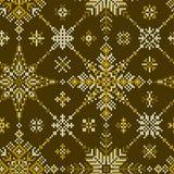 与几何雪花的被编织的无缝的样式 向量例证