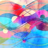 与几何颜色对象的抽象水彩背景 库存例证