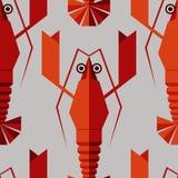 与几何龙虾的无缝的抽象传染媒介样式 库存照片