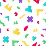 与几何任意形状的五颜六色的无缝的样式 库存图片