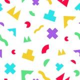 与几何任意形状的五颜六色的无缝的样式 免版税库存图片