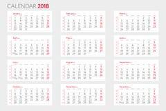 与几星期模板的日历2018年 开始星期一 库存图片