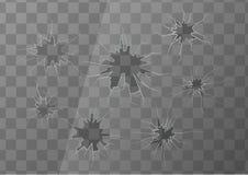 与几镇压的残破的玻璃在透明背景,方形的例证 向量例证