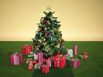 与几件礼物的Christmass树,在一张绿色地毯 库存照片