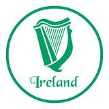 与凯尔特竖琴的爱尔兰象征 库存例证