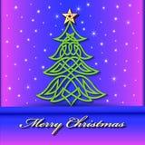 与凯尔特语圣诞树的欢乐背景  免版税图库摄影