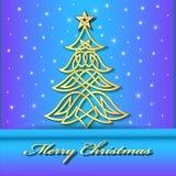 与凯尔特语圣诞树的欢乐背景  免版税库存图片