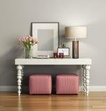 与凳子的典雅的别致的棕色嵌墙桌子 库存图片