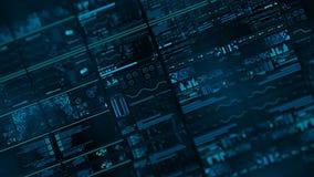 与出于未来派接口/数字式screen/HUD焦点区域的透视图  股票录像