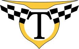 与出租汽车最低纲领派商标的象征的哥特式黑体字T 免版税图库摄影