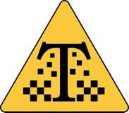 与出租汽车最低纲领派商标的象征的哥特式黑体字T 库存照片
