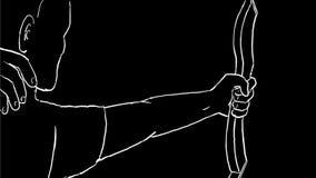 与击中舷窗目标图画第2动画的弓箭的阿切尔 向量例证