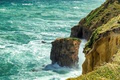 与击碎入含沙峭壁的白色泡沫的大波浪在新西兰 免版税库存照片