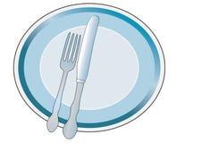 与刀子和叉子的牌照 免版税库存照片
