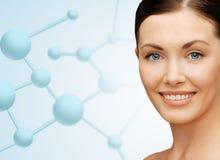 与分子的美丽的少妇面孔 免版税库存照片