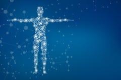 与分子脱氧核糖核酸的抽象人体 医学、科学技术 皇族释放例证