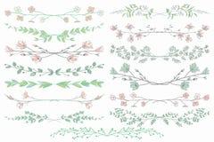 与分支、植物和花的传染媒介分切器 免版税库存图片
