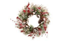 与分支、绿色和霍莉莓果的装饰圣诞节花圈 免版税库存照片