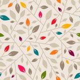 与分支和叶子的无缝的几何样式 图库摄影