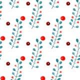 与分支和霍莉莓果的圣诞节装饰品 在白色背景的水彩无缝的样式 库存图片