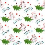 与分支和霍莉莓果的葡萄酒无缝的圣诞节样式 对季节设计 免版税图库摄影