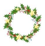 与分支,叶子,霍莉莓果,棒棒糖,金黄星的被隔绝的圣诞节花圈 招呼的季节性设计 免版税库存照片
