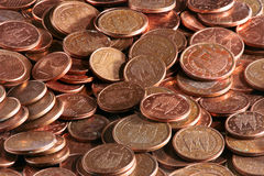 与分的欧洲硬币欧元 库存图片