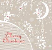 与切开小的天使、冬天树剪影、雪花和圣诞节星的纸的淡色天真幼稚Xmas贺卡 库存照片