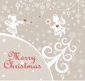 与切开小的天使、树、垂悬的装饰和圣诞节星的纸的纸幼稚Xmas贺卡 免版税图库摄影