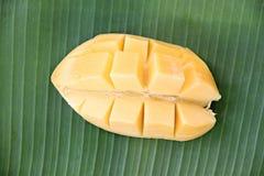 与切片的成熟芒果在香蕉叶子。 免版税库存图片