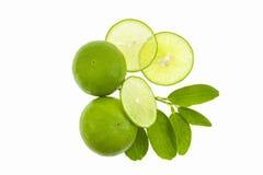 与切片的新鲜的绿色在白色backgro隔绝的石灰和叶子 免版税库存照片