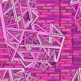 与创造导线框架的砖和几何元素的抽象未来派背景 免版税库存图片