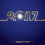 2017年与创造性的午夜时钟的新年快乐 免版税库存图片