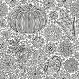 与创造性的菜和花,装饰花卉背景的无缝的样式 免版税库存图片