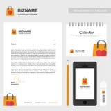 与创造性的设计传染媒介的公司手册与购物袋l 皇族释放例证