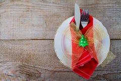 与利器的盘圣诞节午餐的 免版税库存图片