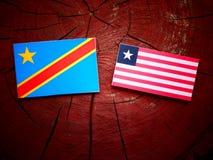 与利比里亚旗子的刚果民主共和国旗子在tr 免版税库存图片