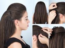 与别针的发型卷发讲解的 库存图片