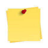 与别针的黄色提示 免版税库存照片