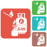 与制冷剂瓶象传染媒介的手提油炉 库存照片