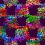 与刷子乱画和正方形的无缝的样式 在紫罗兰色背景的彩虹水彩 手画水彩纹理 库存图片