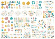 与刷子冲程的传染媒介集合手拉的杂文 库存图片