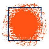 与刷子冲程的传染媒介红色墨水污点,与空间的蓝色方形的框架文本的,在白色背景 免版税库存图片