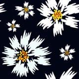 与刷子冲程的无缝的抽象花卉春黄菊样式 向量例证