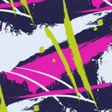 与刷子冲程线的传染媒介样式 条纹水彩动态飞溅样式 抽象颜色boho印刷品 格子花呢披肩冲程 免版税库存图片