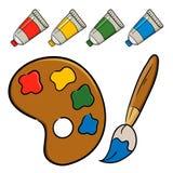 与刷子和油漆的Pallete 库存图片