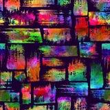 与刷子条纹和冲程的无缝的样式 彩虹在紫罗兰色背景的水彩颜色 手画农庄 免版税库存图片